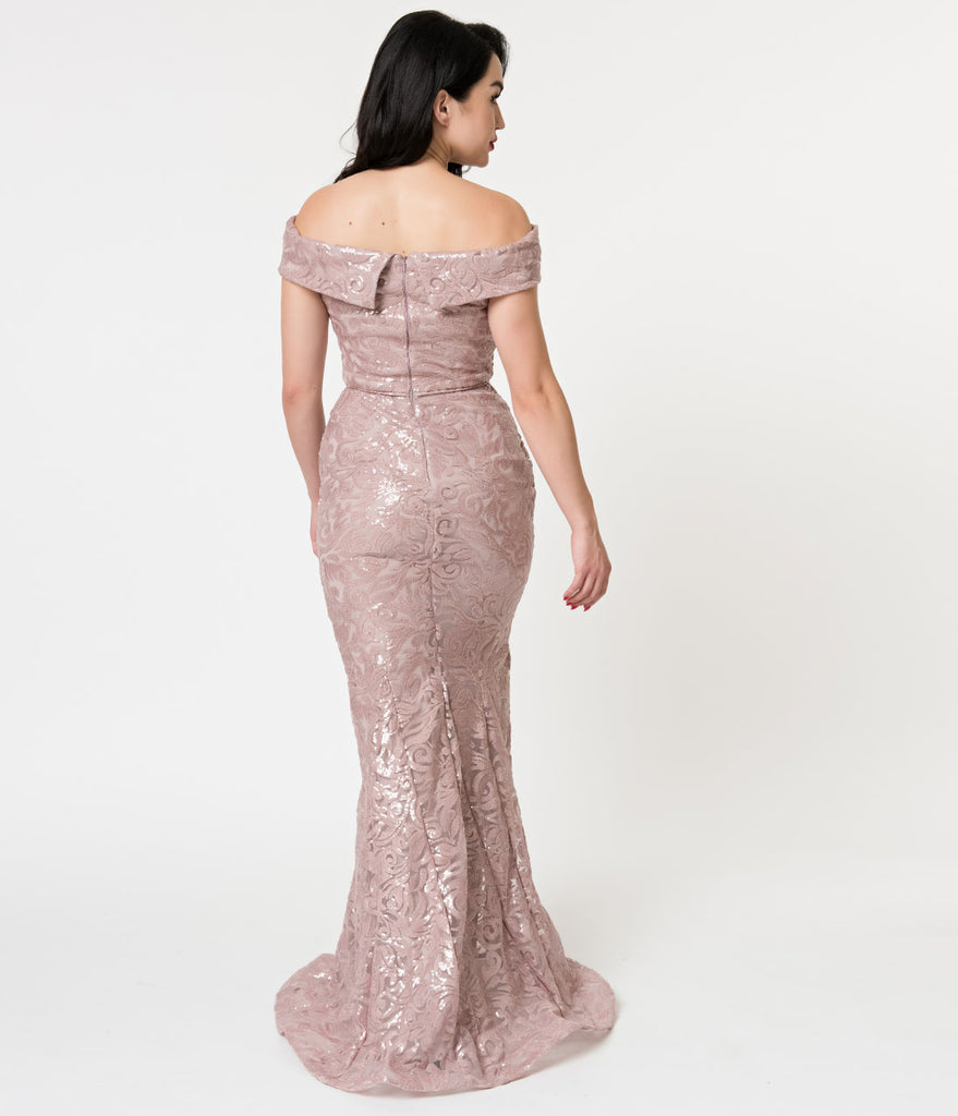 Mauve Sequin Jacquard Off Shoulder Mermaid Gown