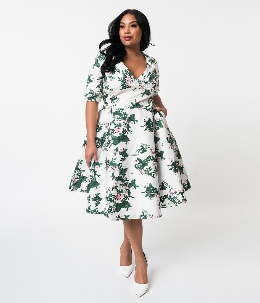 Unique Vintage Plus Size 1950s White & Pink Briar Rose Print Delores Swing Dress with Sleeves