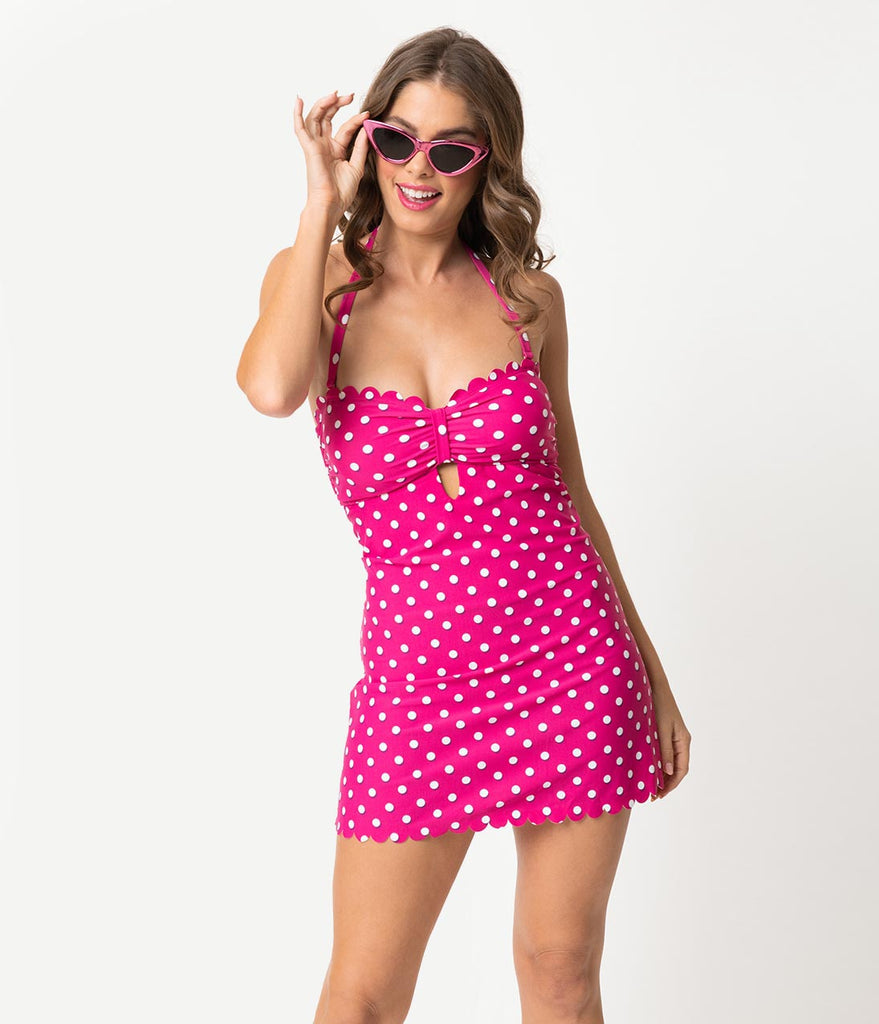 Fuchsia Pink & White Polka Dot One Piece Skirted Swimsuit