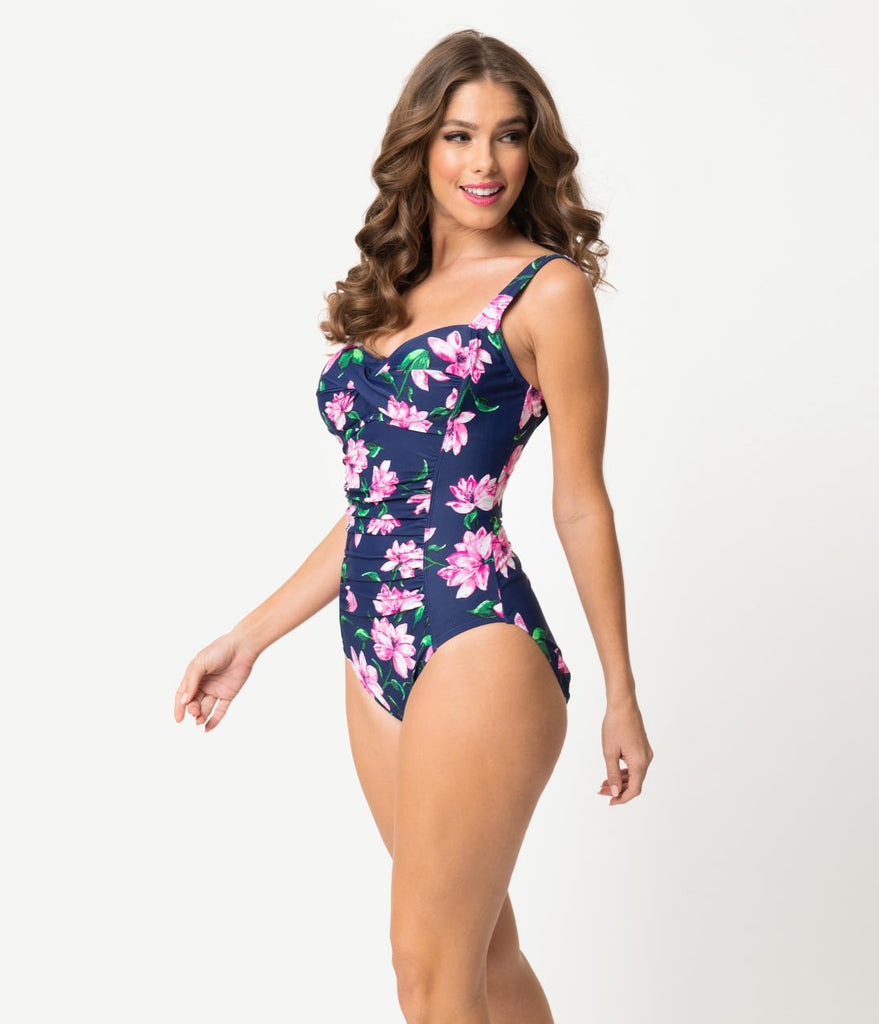 df68efc7afa Pin Up Style Navy & Pink Floral Midnight Bloom One Piece Swimsuit – Unique  Vintage