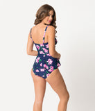 Pin Up Style Navy & Pink Floral Midnight Bloom Swim Bottom