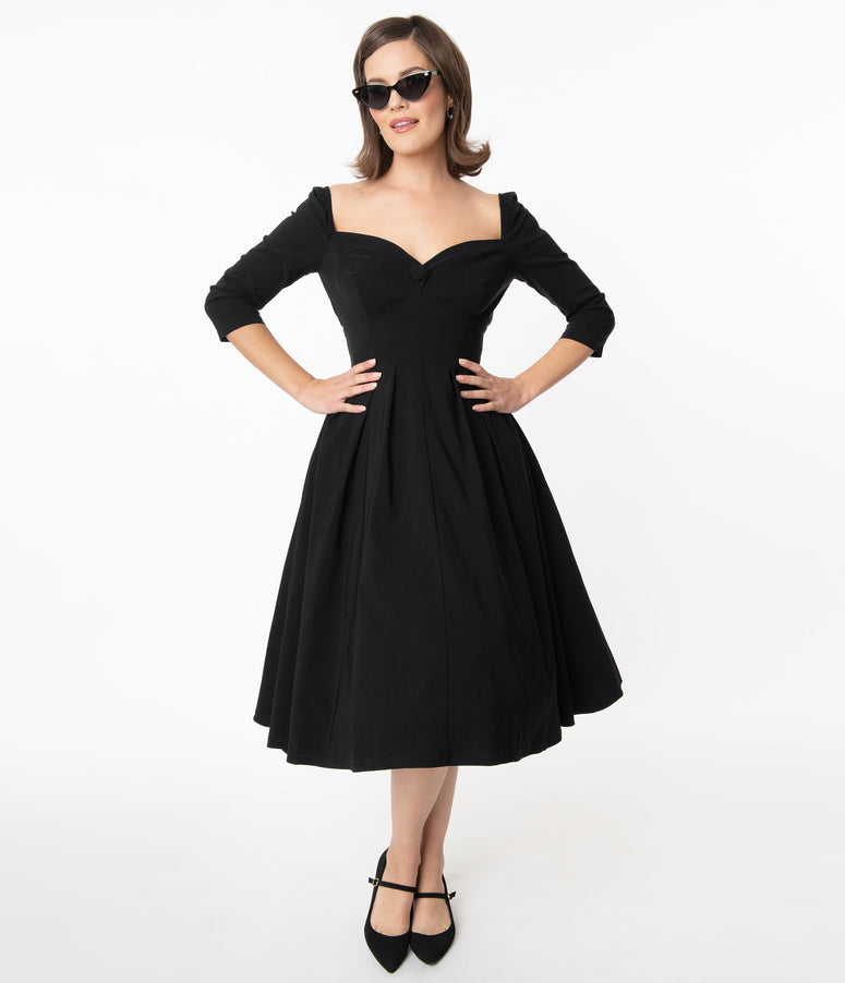 Unique Vintage 1950s Style Black Sweetheart Lamar Swing Dress