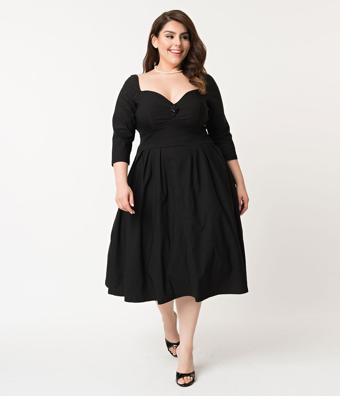 1950s Plus Size Dresses, Swing Dresses Unique Vintage Plus Size 1950S Style Black Bengaline Sweetheart Lamar Swing Dress $98.00 AT vintagedancer.com