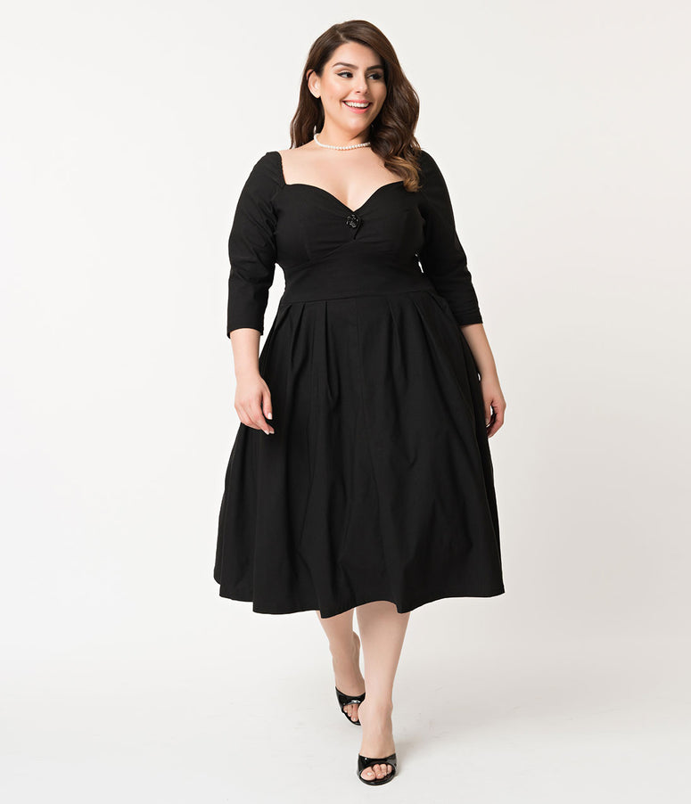 Unique Vintage Plus Size 1950s Style Black Sweetheart Lamar Swing Dress