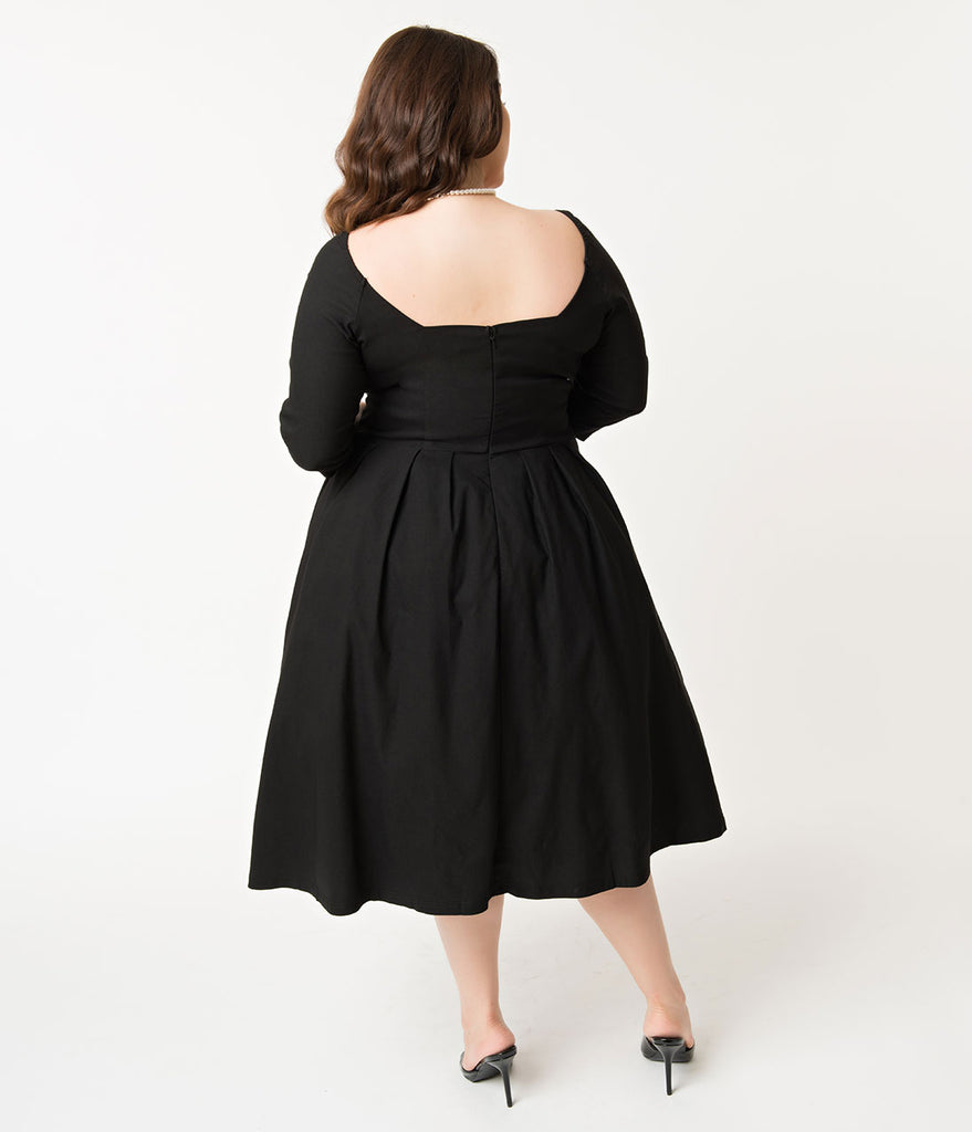 Unique Vintage Plus Size 1950s Style Black Bengaline Sweetheart Lamar Swing Dress