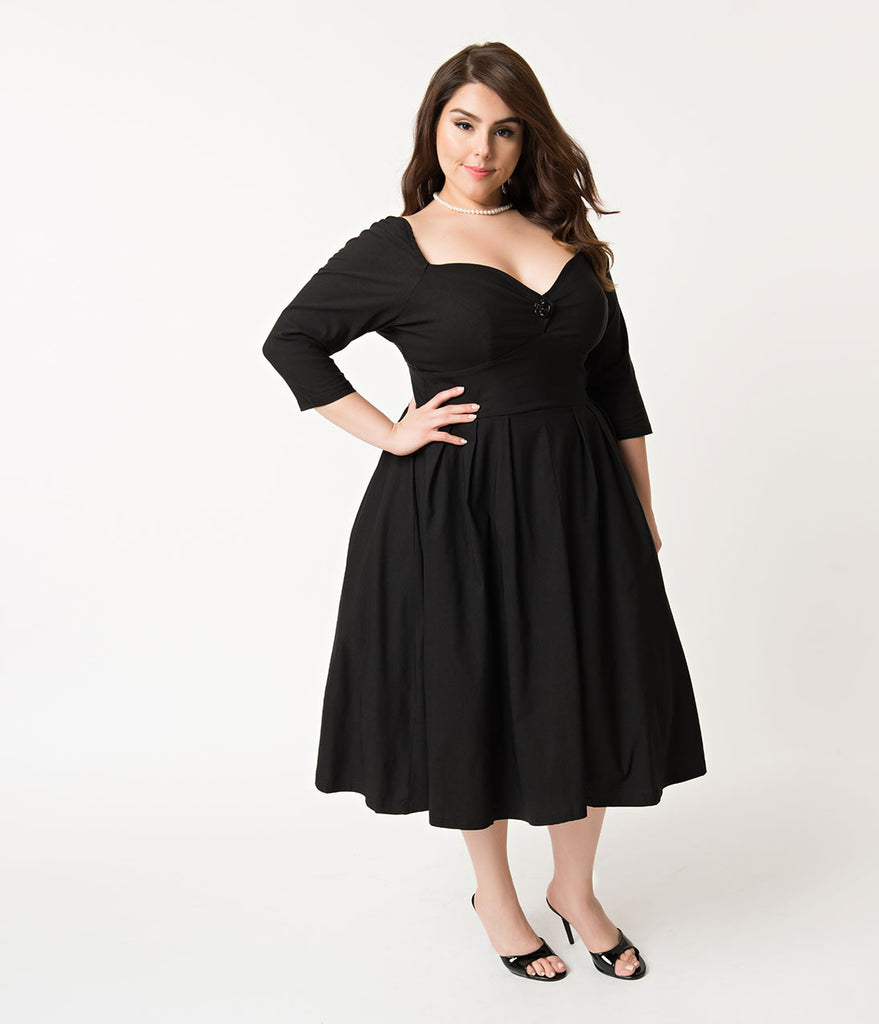 16843116b6b0 ... Unique Vintage Plus Size 1950s Style Black Bengaline Sweetheart Lamar  Swing Dress ...