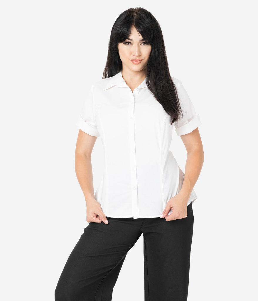 Unique Vintage White Cotton Short Sleeve Button Up Mazzie Blouse