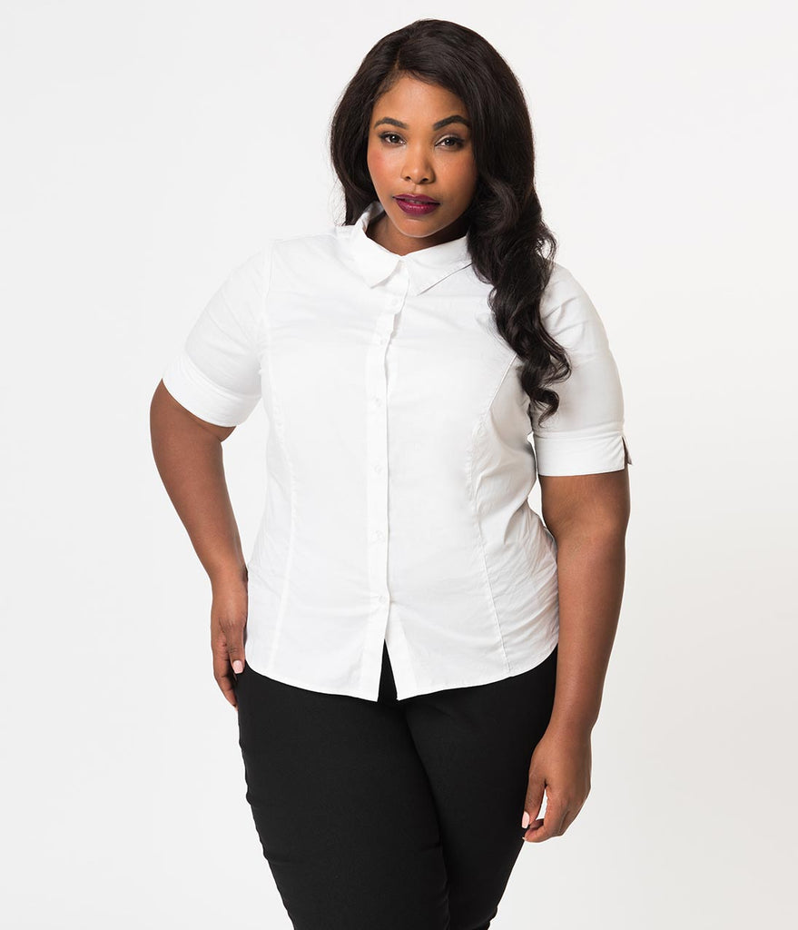 Unique Vintage Plus Size White Cotton Short Sleeve Button Up Mazzie Blouse