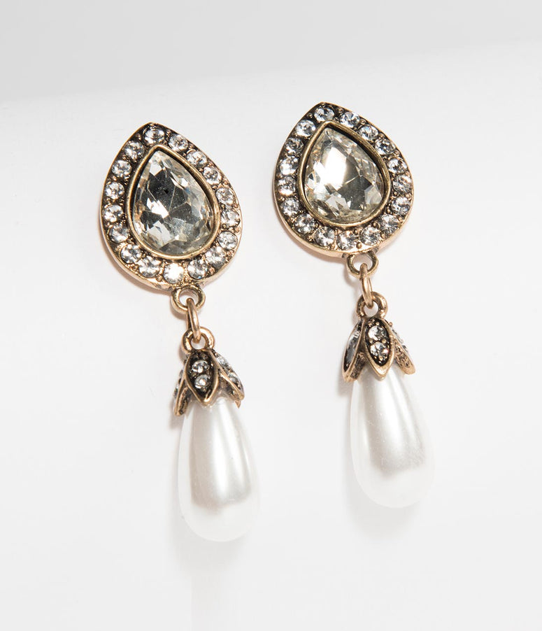 Vintage Style Ivory Pearl & Silver Crystal Teardrop Earrings