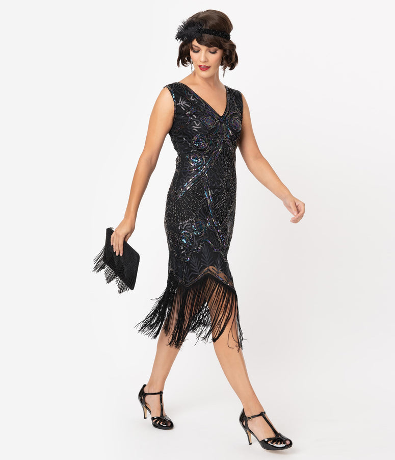 Unique Vintage Black Iridescent Beaded Zelia Fringe Flapper Dress