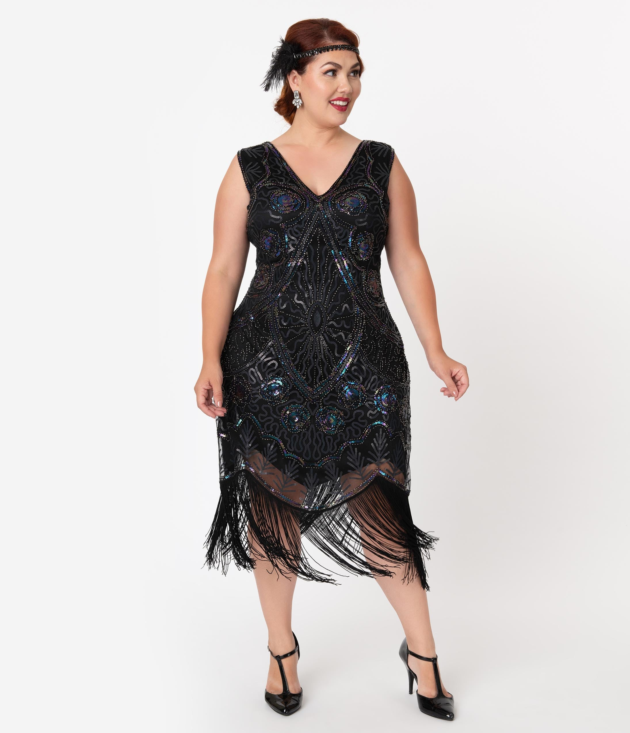 1920s Plus Size Flapper Dresses, Gatsby Dresses, Flapper Costumes Unique Vintage Plus Size Black Iridescent Beaded Zelia Fringe Flapper Dress $98.00 AT vintagedancer.com