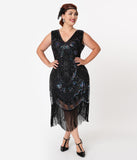 Unique Vintage Plus Size Black Iridescent Beaded Zelia Fringe Flapper Dress