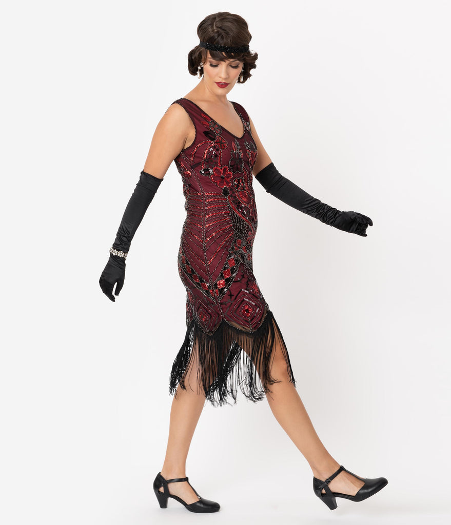 Unique Vintage 1920s Black & Red Beaded Fringe Charvelle Flapper Dress