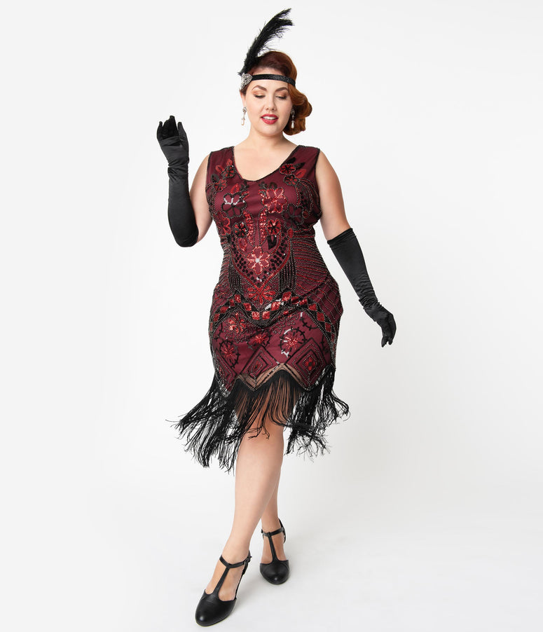 Unique Vintage Plus Size 1920s Black & Red Beaded Fringe Charvelle Flapper Dress
