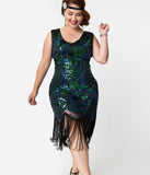 Unique Vintage Plus Size 1920s Emerald & Royal Blue Beaded Fringe Charvelle Flapper Dress