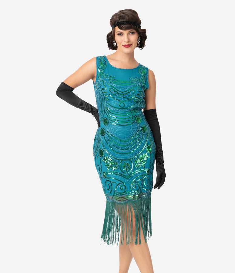 Unique Vintage 1920s Teal Beaded Yvette Fringe Cocktail Dress