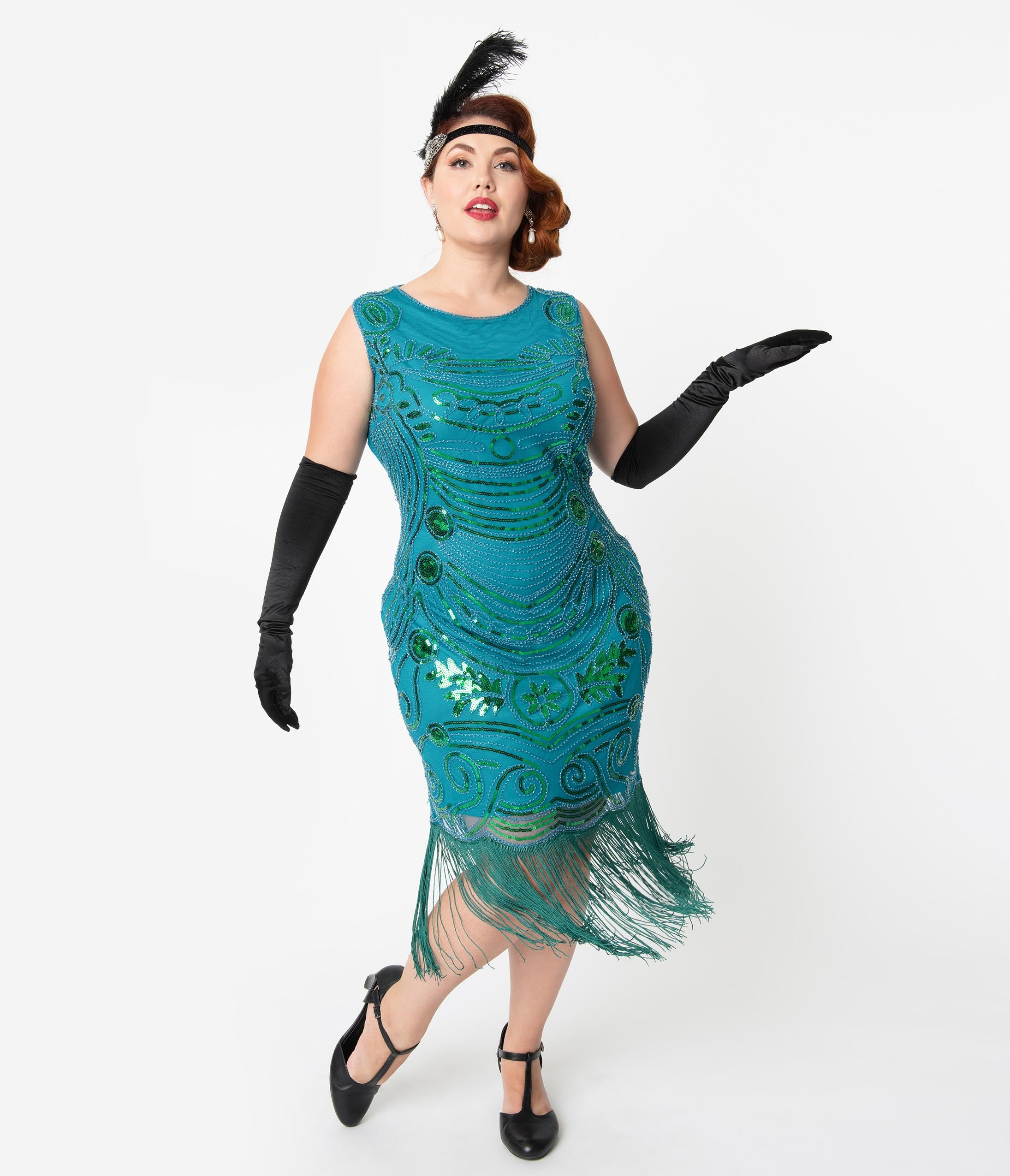1920s Costumes: Flapper, Great Gatsby, Gangster Girl Unique Vintage Plus Size 1920S Teal Beaded Yvette Fringe Cocktail Dress $98.00 AT vintagedancer.com
