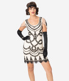 Unique Vintage Ivory & Black Beaded Vivianne Flapper Cocktail Dress