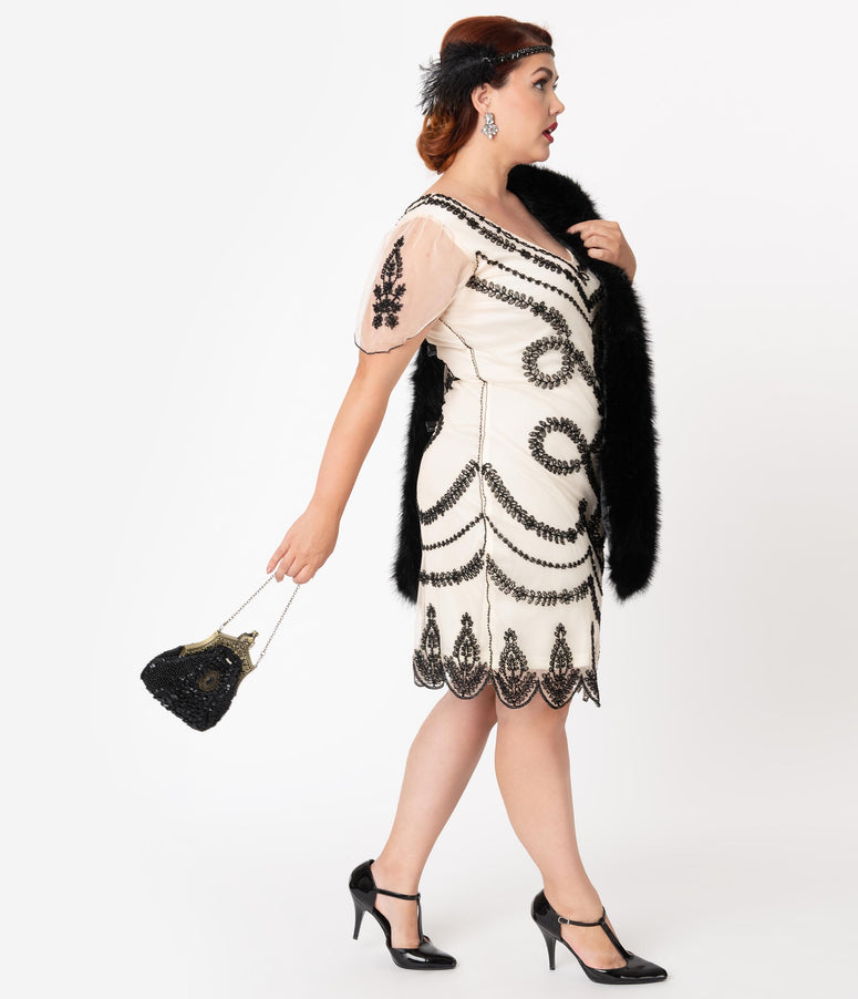 Unique Vintage Plus Size Ivory & Black Beaded Vivianne Flapper Cocktail Dress