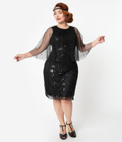 Plus Size Modest Sleeveless Cocktail Scoop Neck Mesh Beaded Sequined Fitted Side Zipper Vintage Little Black Dress/Party Dress