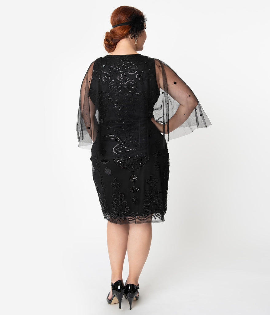 Unique Vintage Plus Size Black Beaded Mesh Cape Olivette Cocktail Dress