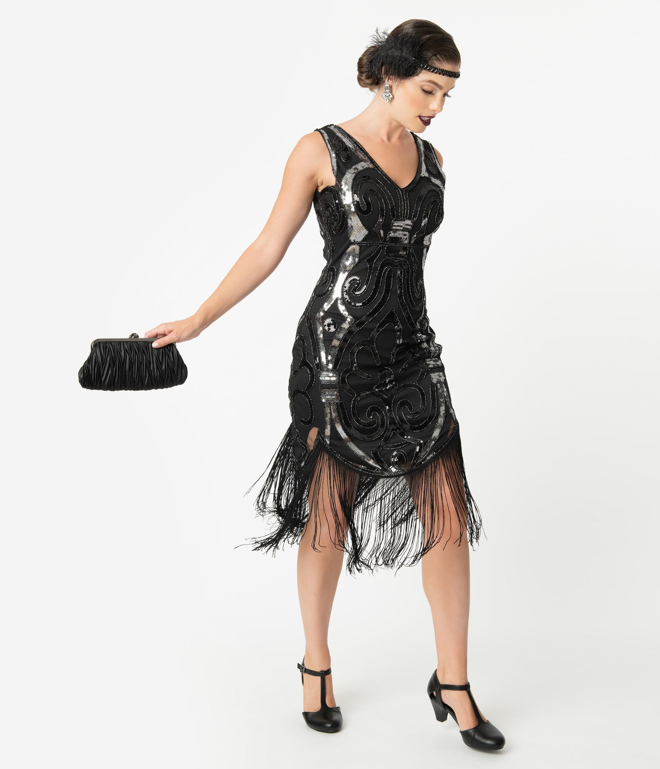 1920s Evening Dresses & Formal Gowns Unique Vintage 1920S Black  Silver Beaded Josseline Fringe Cocktail Dress $98.00 AT vintagedancer.com