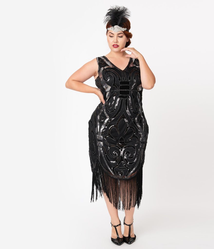 Unique Vintage Plus Size 1920s Black & Silver Beaded Josseline Fringe Cocktail Dress
