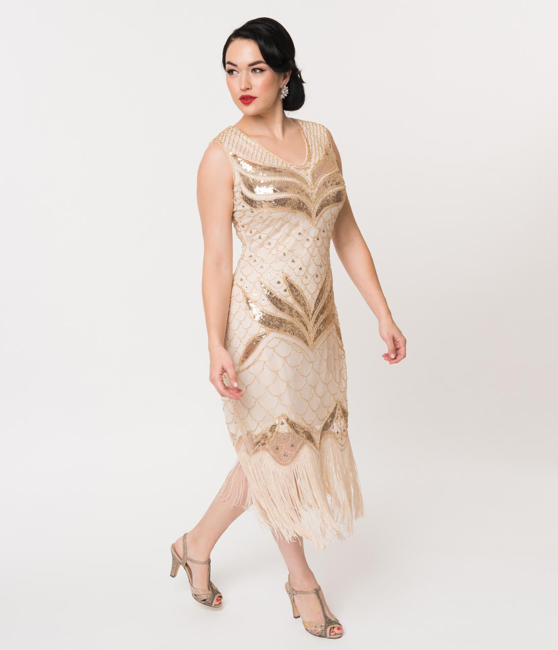 Flapper Dresses & Quality Flapper Costumes Unique Vintage 1920S Cream  Gold Sequin Victorine Fringe Cocktail Dress $98.00 AT vintagedancer.com