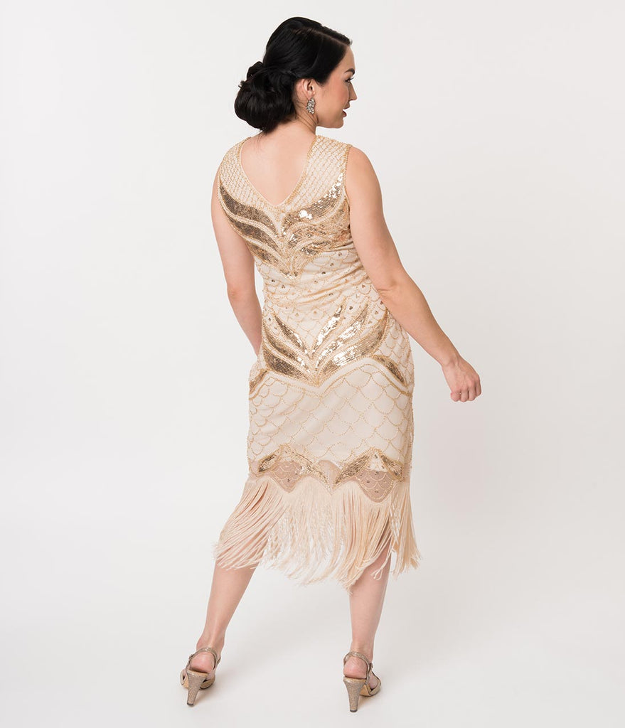 Unique Vintage 1920s Cream & Gold Sequin Victorine Fringe Cocktail Dress