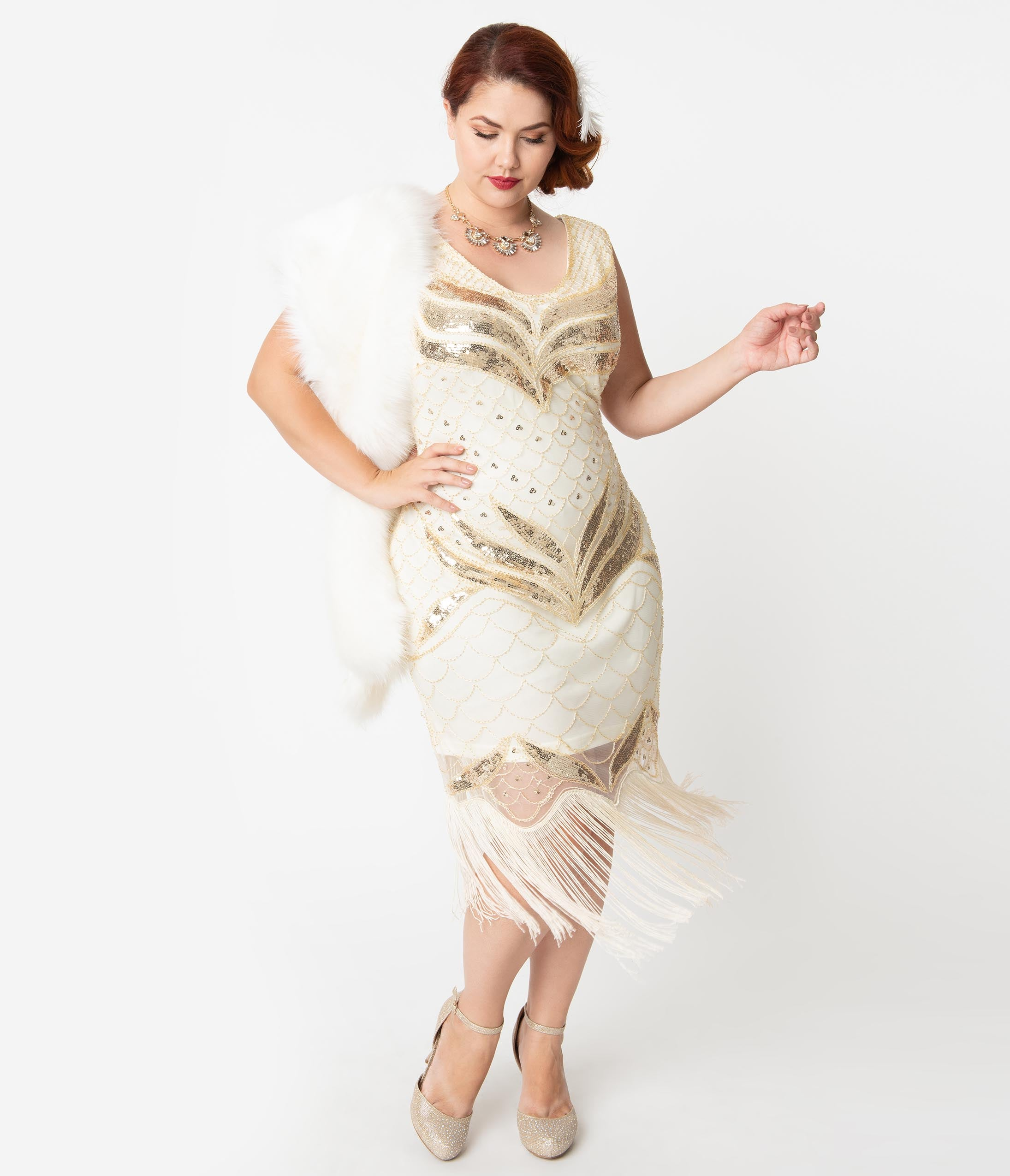 Vintage Christmas Gift Ideas for Women Unique Vintage Plus Size 1920S Cream  Gold Sequin Victorine Fringe Cocktail Dress $98.00 AT vintagedancer.com