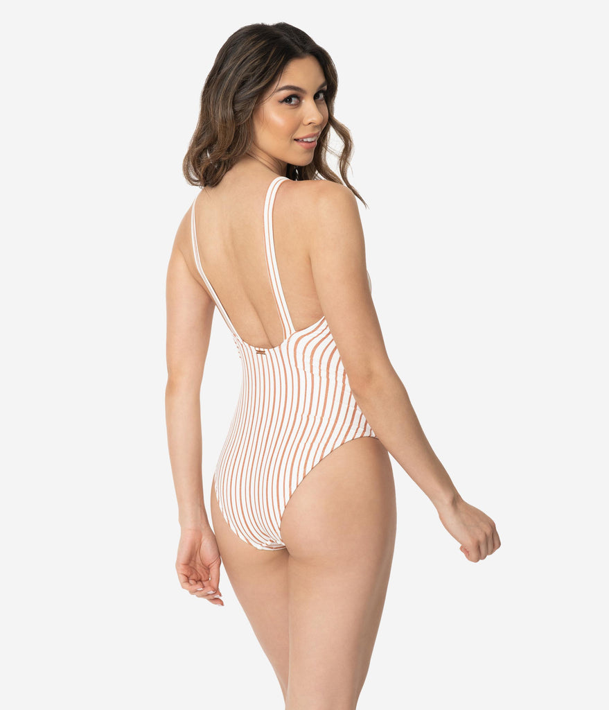 Retro Style Ivory & Sparkling Copper Stripe One Piece Swimsuit