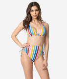 Multicolor Stripe Lace Up High Waist Swim Bottom