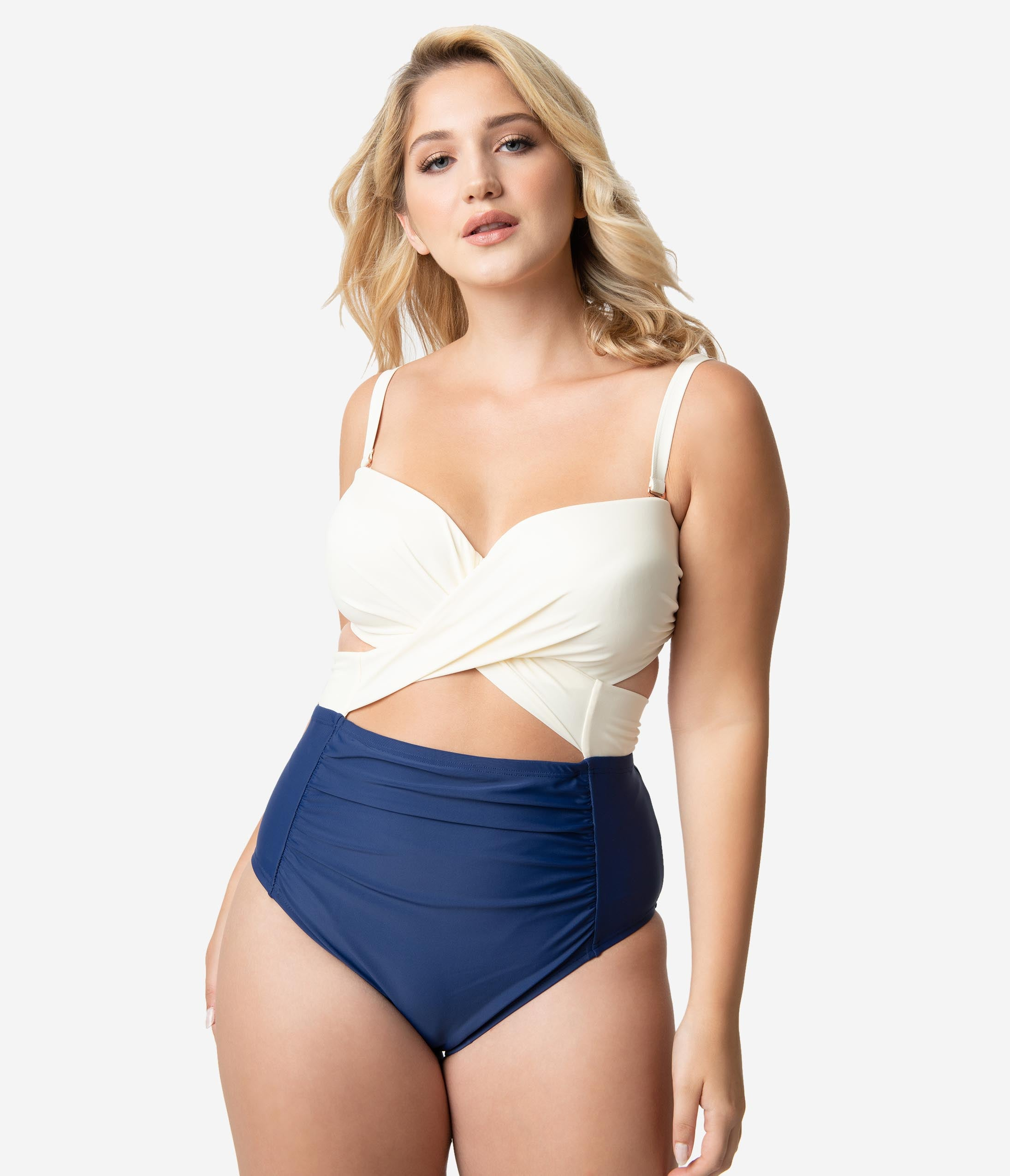 6f2a5a778e 1950s Bathing Suits, Swimsuits History Plus Size Navy Ivory Cross Wrap  Carly One Piece Swimsuit