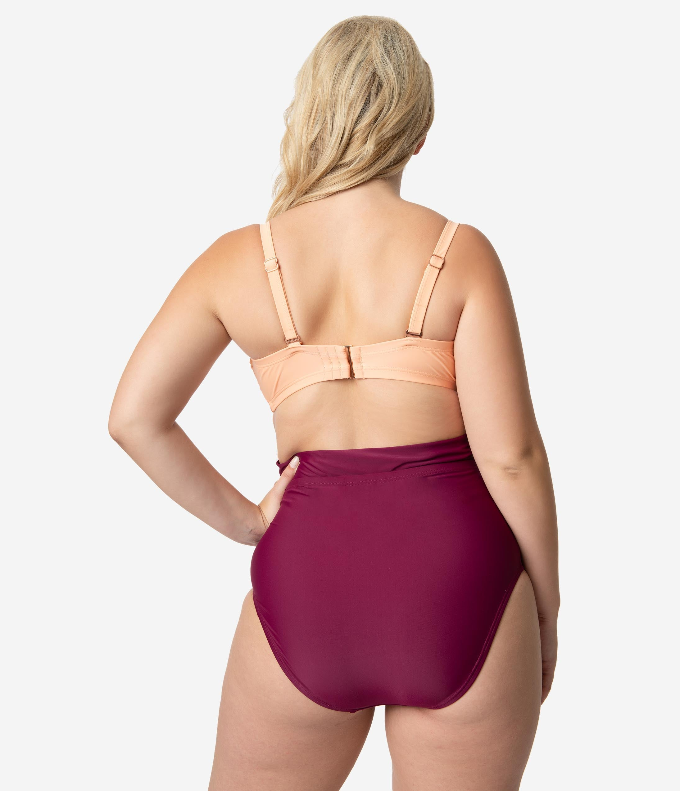 ddbe2a6ad015e Plus Size Purple & Peach Pink Cross Wrap Carly One Piece Swimsuit