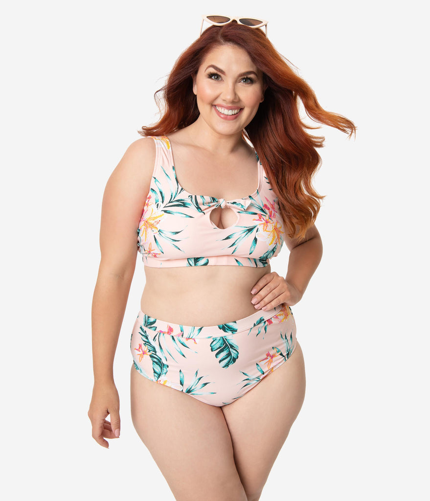 5244998baad Plus Size Blush Pink Floral Print Brittany Bow High Waist Swim Bottoms