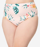 Plus Size Blush Pink Floral Print Brittany Bow High Waist Swim Bottoms