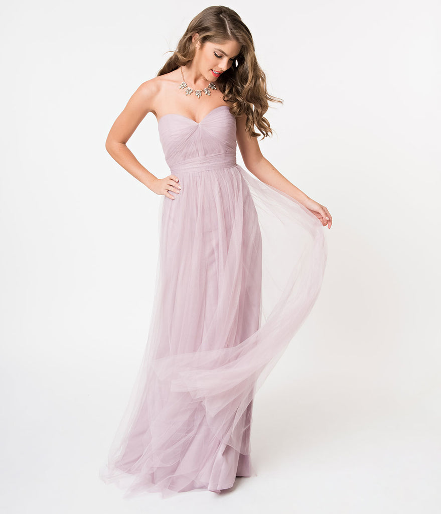 Mauve Purple Strapless Sweetheart Mesh Sash Long Dress