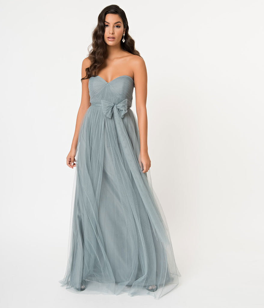 Paris Blue Strapless Sweetheart Mesh Sash Long Dress