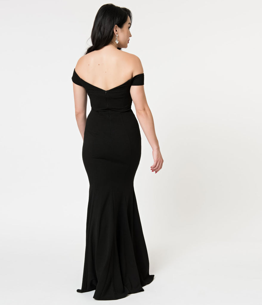 Black Off The Shoulder Fitted Mermaid Long Dress