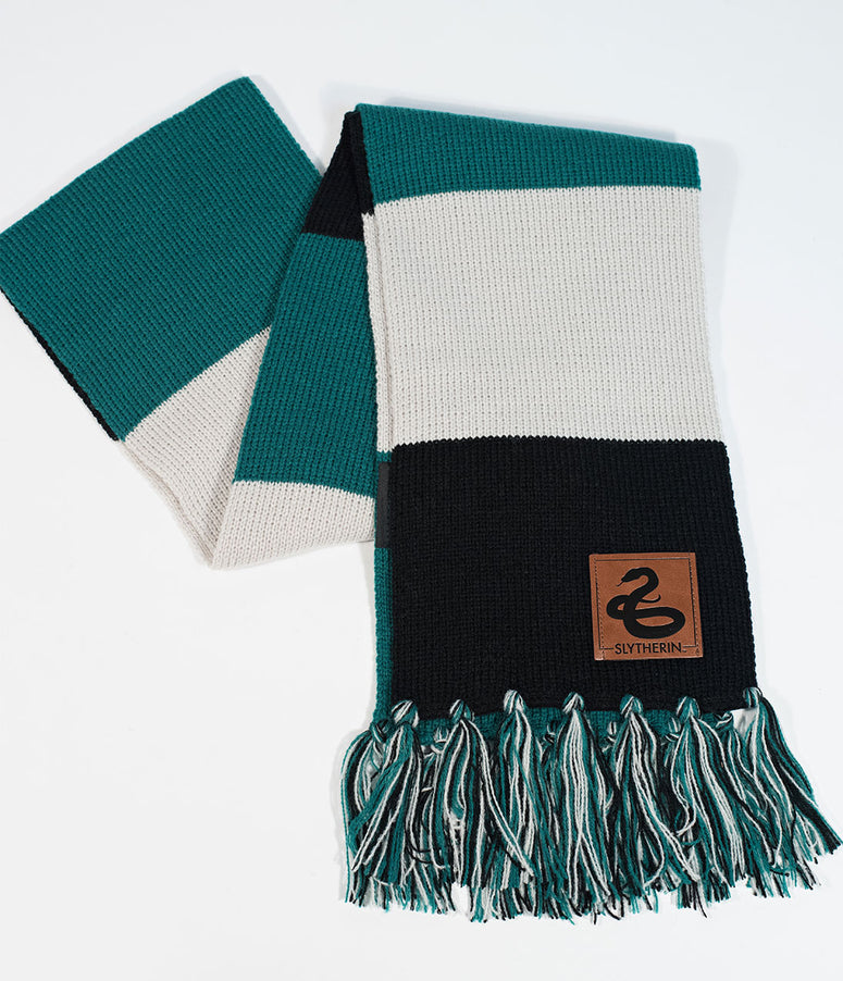 Green & Grey Stripe Slytherin House Patch Knit Scarf