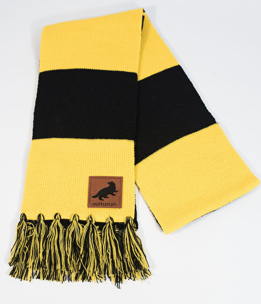 Black & Yellow Stripe Hufflepuff House Patch Knit Scarf