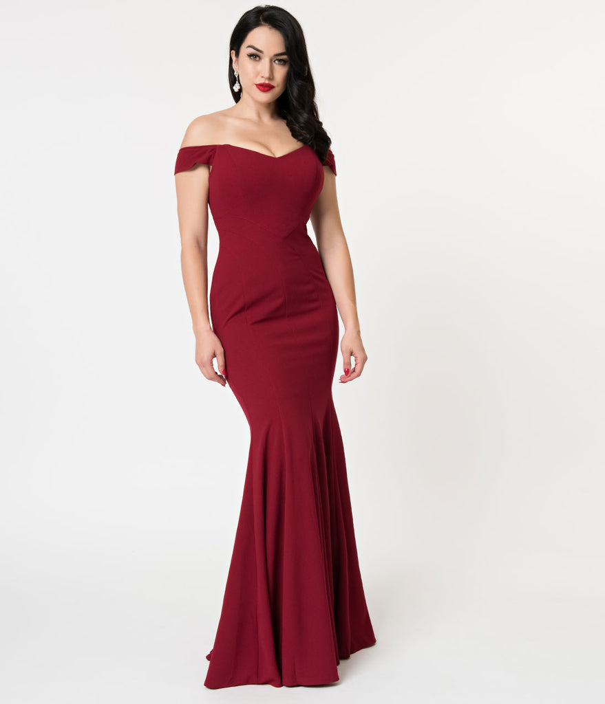 7433638370e3 Burgundy Sexy Off Shoulder Mermaid Long Dress – Unique Vintage