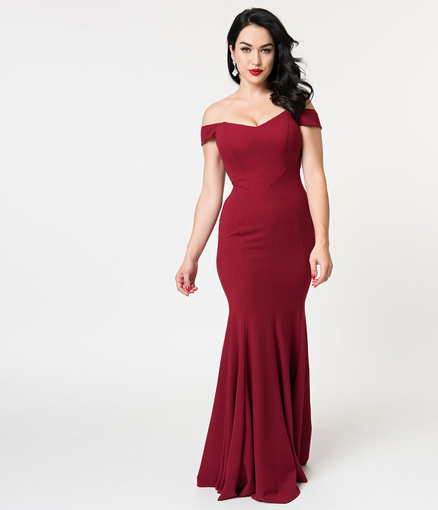 Burgundy Sexy Off Shoulder Mermaid Long Dress