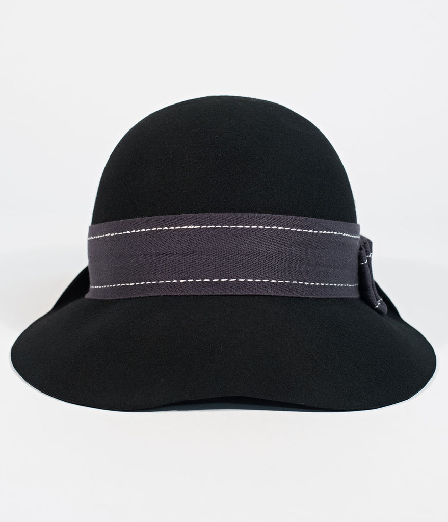 Black Felt & Ribbon Tina Goldstein Cloche