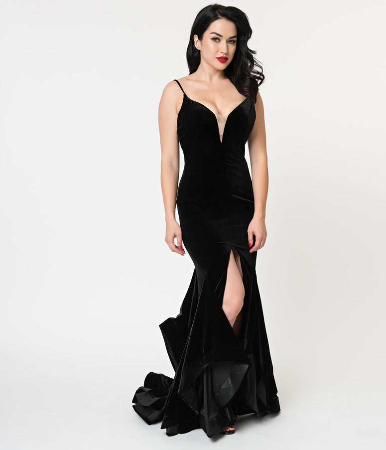 Black Velvet Ruffled Mermaid Sexy Long Dress
