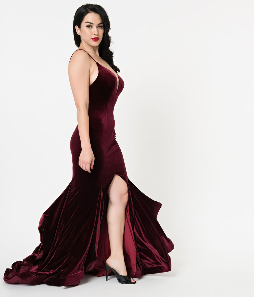 Burgundy Velvet Ruffled Mermaid Sexy Long Dress
