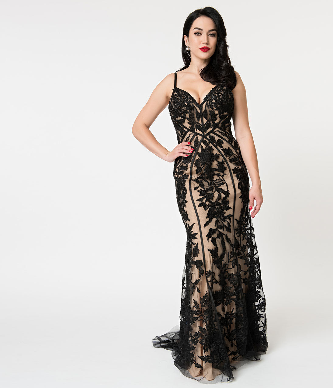 1930s Evening Dresses | Old Hollywood Dress Beige  Black Embroidered Lace Sexy Fitted Long Dress $398.00 AT vintagedancer.com