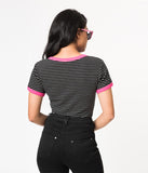 Hell Bunny Black & White Stripe Roller Skate Cotton Top