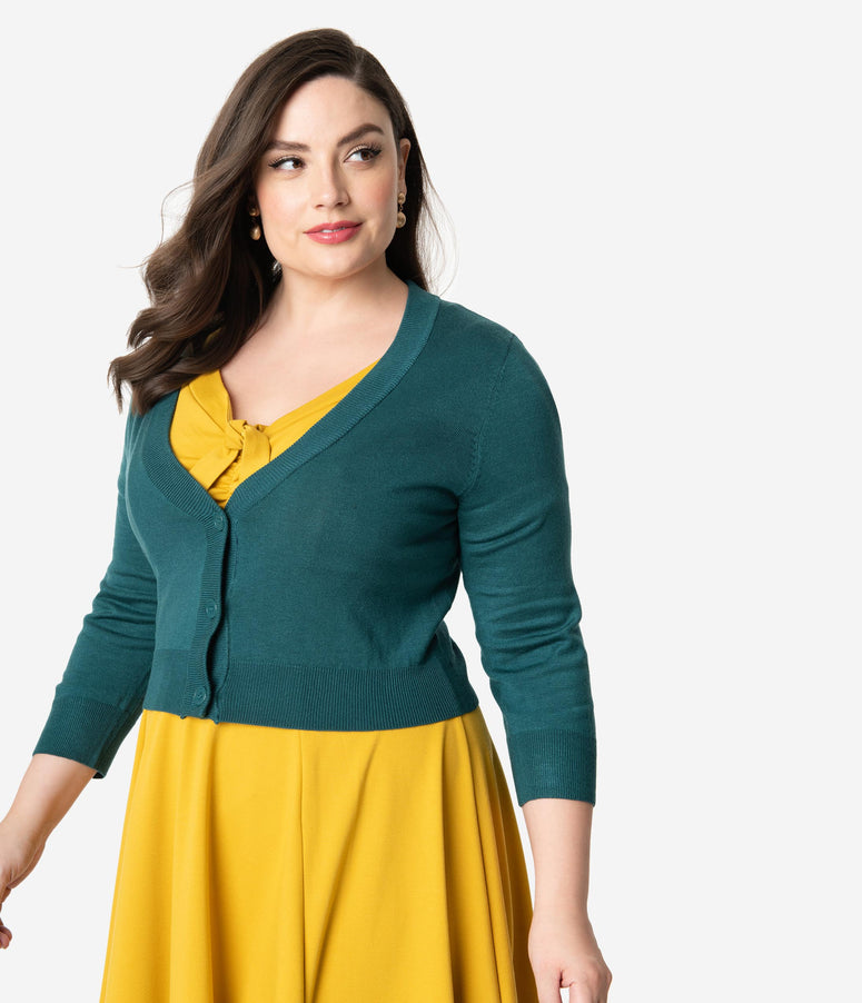 Plus Size Peacock Green Three-Quarter Sleeve Button Up Crop Cardigan