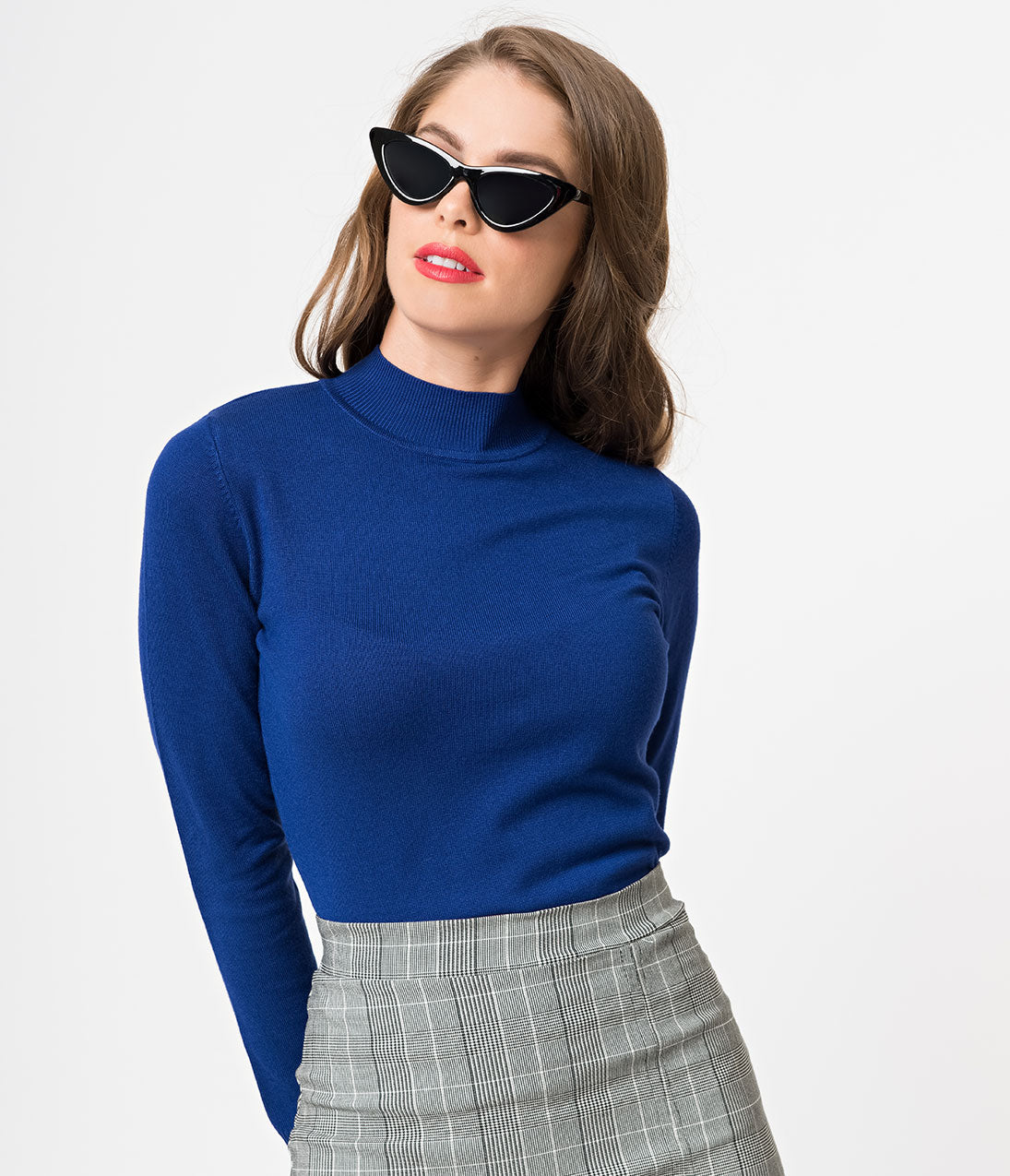 60s Shirts, T-shirt, Blouses | 70s Shirts, Tops, Vests Royal Blue Mock Turtleneck Long Sleeve Knit Sweater $32.00 AT vintagedancer.com